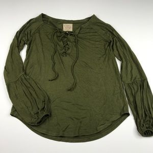 Chaser Olive Green Lace Up Boho Top Blouse NWT
